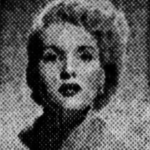 Newspaper photograph of a blonde white woman