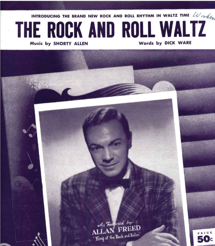 "Cover of sheet music titled ""Rock and Roll Waltz"" with a photo of Alan Freed"