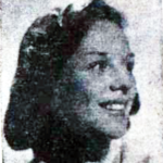 Newspaper photograph of a young white woman with a short bob haircut