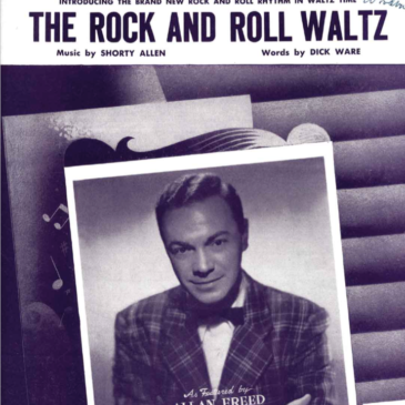 """Cover of sheet music titled """"Rock and Roll Waltz"""" with a photo of Alan Freed"""